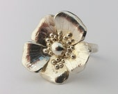 Rose ring flower jewellery ring, highly detailed. Romantic and pretty gift, floral wildflower, dog rose or wild rose