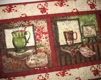 Christmas Table Runner,  Wall Art, Hot Chocolate, Coffee quilted,  fabric from Wilmington Prints