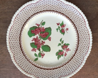 Royal Cauldon pink or red lilac and basket pattern english plate