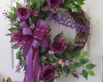 Welcome Wreath, Four Season Wreath, Front Door Wreath, All Season Wreath, Plum Purple Wreath, Cabbage Roses