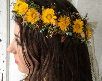 Dried Flower Hair Wreath Crown Natural Flowers Wedding Shabby Chic Country Yellow Strawflowers Lace Bridal Head Piece Boho Woodland