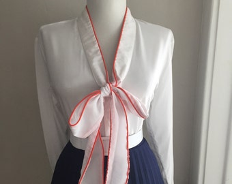 Vintage 1950s 1960s Atomic RED & WHITE Long Sleeve Button Down Blouse w Ascot Tie Neck