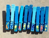 10 OCEAN CLOTHESPINS Sea Creatures hand painted magnets party favors