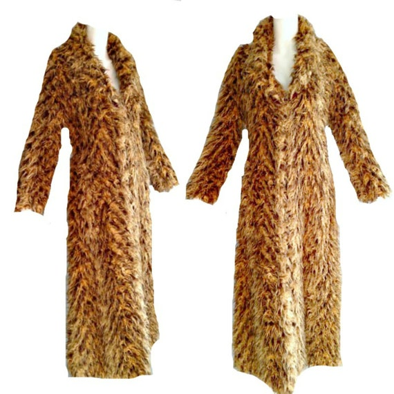 ViNtAgE Shag Faux Fur Maxi Coat Jacket Shaggy Chubby Club Grunge Rave Ostrich Marabou Feather Mongolian Lamb Shearling Yeti Monster Fur