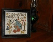 Crows Corn & Cats Sampler, Finished and Framed Cross Stitch, Primitive Autumn Halloween - FREE US SHIPPING