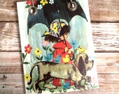 Recycled  Notebook - Girl and Dog   Under Black Umbrella - Upcycled Vintage Greeting Card - Large Notepad - Refillable Notepad