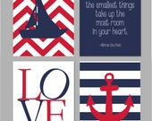 Nautical Nursery Boys Room Wall Art Sailboat Anchor Silhouette Chevron Nursery Sometimes the Smallest Things Winnie The Pooh Quote