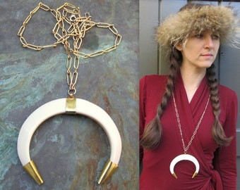 Vintage Faux Tusk Necklace on Long Gold Chain Necklace 1970s Plastic Tooth Tusk