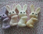 """4 FLOCKED BUNNIES vintage soft 4 colors 3 1/2"""" pastel decoration"""