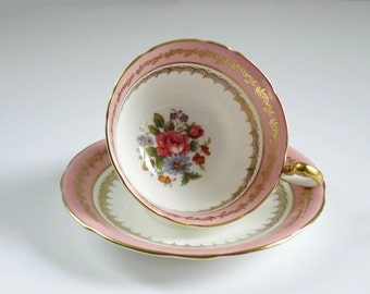 Vintage Pink Tea Cup and Saucer Set  /  Pink Aynsley Teacup and Saucer /  Aynsley English Bone China  /  Pink Cup and Saucer Set