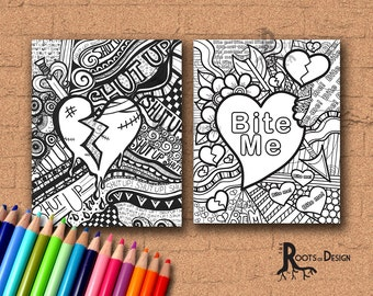 Instant Download- Anti-love/ Anti-Valentine coloring page bundle - Coloring Page or Print, Coloring Page lot