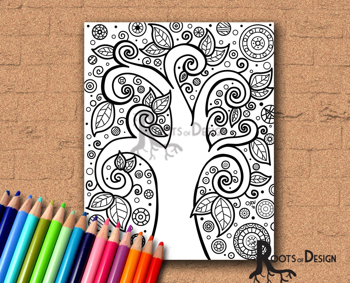 instant download coloring page tree of life art print