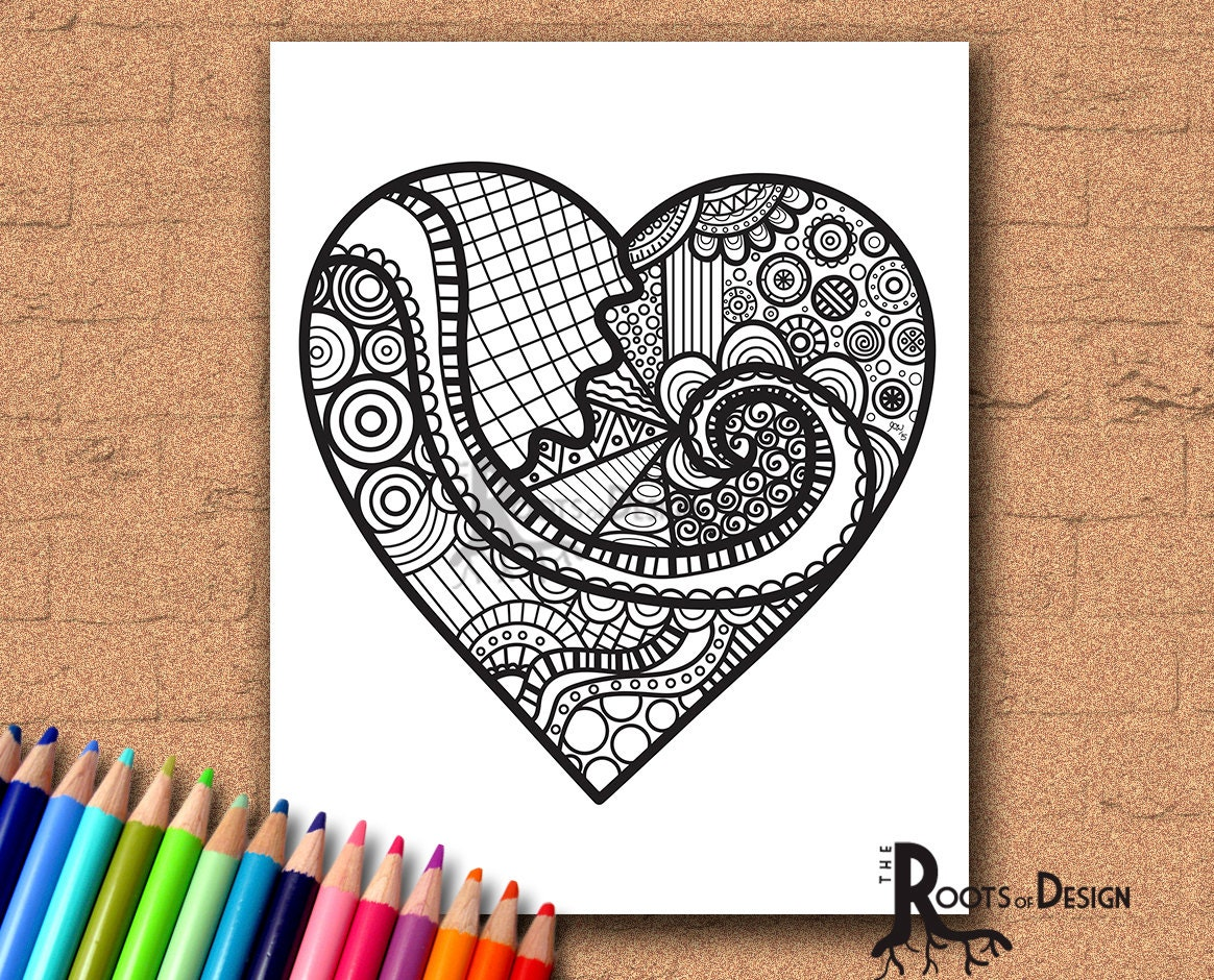 instant download coloring page heart valentine u0027s day