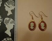 Handmade Cameo Drop Earrings, Carnelian Glass in Gold Tone Settings w/ Pierced Wires