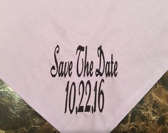 Save the Date Dog Bandana with Date on it in your choice of colors and fonts