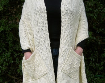 Knitting Pattern For A Shawl With Pockets : Twisted knit shawl Etsy