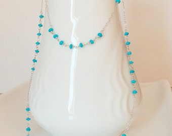 Sleeping Beauty Turquoise Natural Wire Wrapped Handmade Necklace with Sterling Silver