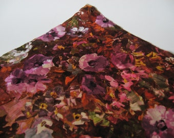 Gorgeous midcentury vintage abstract floral oil painting print novelty stretch polyester fabric pink brown green purple