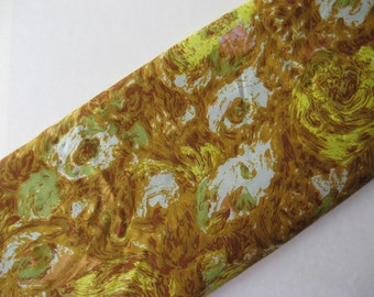 Outstanding vintage wiggledress silk fabric abstract rose floral barkcloth print gold green pink pastels 2 plus yards