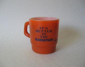 Super rare vintage fired on glass It's Better in the Bahamas mug 70s colours ovenproof USA sunset sailboat