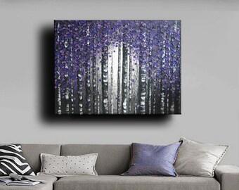 Huge 40 x 50 Custom Oil Impasto Painting Original Texture Modern Tree Birch Purple Silver Gray White Sculpture Knife Painting by Je Hlobik