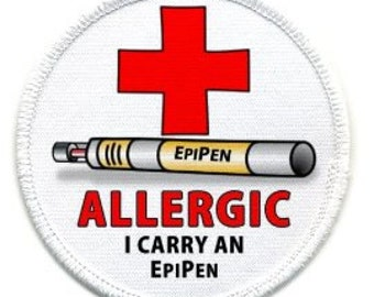 Allergic I Carry an EPIPEN White Rim Medical Alert Sew-on Patch (Choose Size)