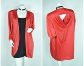 90s 80s 70s  batwing red back cut out backless robe kimono jacket coat cape