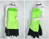 90s Neon slime lime green tube top side slit shirt