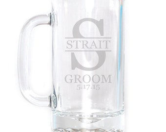 Personalized Small Beer Mug - 16 oz. - 8501 Wedding Monogram Personalized with Name thru Initial and Date