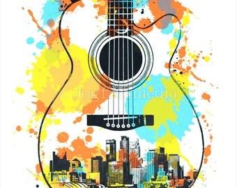 "18 x 24"" Minneapolis Guitar Screen Print Poster - 3rd Edition"