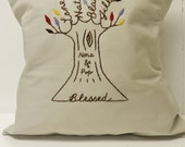 """Personalized """"Blessed"""" Family Tree Pillow Cover. Personalized Valentine's Day. Parent's Anniversary. Gift for Mom. Kids. Love Cushion."""