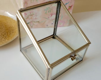 Made to order: Glass Ring Bearer or Glass Trinket Box Silver or Gold Finish