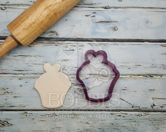 Cupcake with Heart Topper Cookie Cutter and Fondant Cutter and Clay Cutter