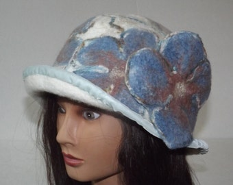 Felted hat  Art To Wear,  Hand made, OOAK White hat, unique hat, winter hat, unique hat.