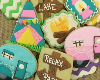 Glamping party cookie assortment