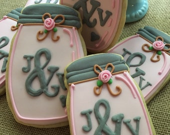 Mason jar cookies wedding or shower favors