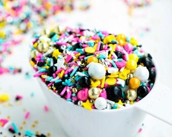 SPLENDOR Twinkle Sprinkle Medley, Pink and Silver/Gold, Sprinkles, Sprinkle Mix, Black and Silver Party