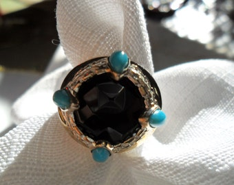 Vintage Sterling Silver Black Onyx and Turquoise Ring Size 7