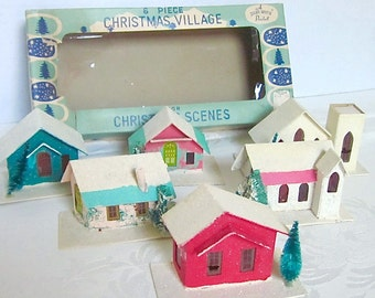 Putz Houses Shiny Bright Christmas Village 6 Vintage Houses in original box RARE