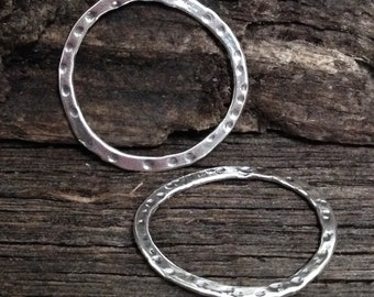 Sterling Silver Circle Connectors  - 2 Large Round Rustic Dappled Links  L13