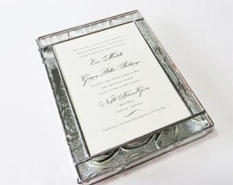 Stained Glass Wedding Keepsake Box Wedding Invitation Bride Groom Photograph Handmade Custom Made-to-Order