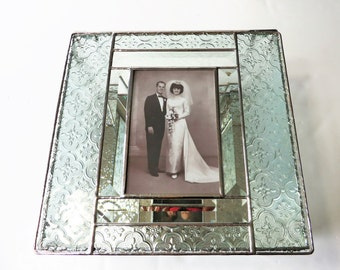 Elegant Stained Glass Keepsake Box 50th Anniversary Gift Golden Anniversary Custom Order Wedding Invitation Bride Groom Picture Engagement