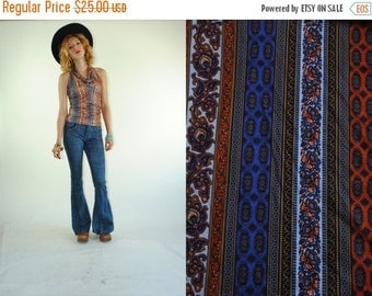 ON SALE 50% 70s Vintage HIPPIE Chic Paisley Print Long Neck Boho Tank Top (X-Small)