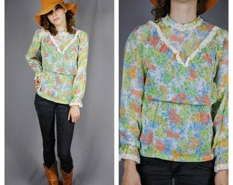 CLEARENCE 80% OFF PRAIRIE Revival Vintage Crochet trim Floral High Collar Gauze Blouse