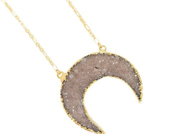 SALE!! 50% OFF Druzy Crescent Necklace - Natural Light color, Gold Plated druzy crescent, druzy necklace, boho jewelry