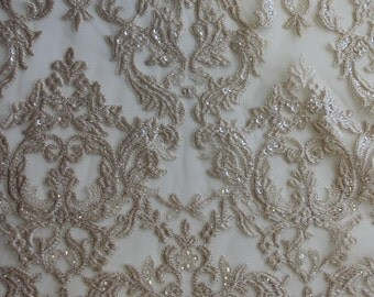 Hand Beaded Embroidered Wedding Dress Lace - NIGHTINGALE  in CHAMPAGNE