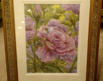 Painted Overnight Flower Fairy Signed  Print in an 11x14 Decorative Gold Frame