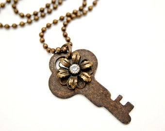 Antique Key Necklace - Key Charm Necklace with Crystal Flower - Vintage Key Necklace - Key Pendant Necklace - Repurposed Jewelry