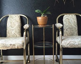 mid century modern round gold metal tiered plant stand