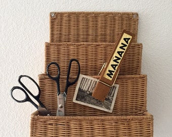 vintage oversized large wood laundry office paperclip / manana / memo note holder / message board